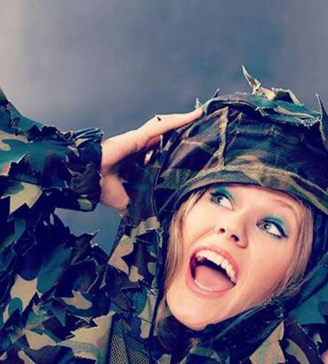 Girl in Army gear. Check out our Adrenaline and Adventure hen party ac