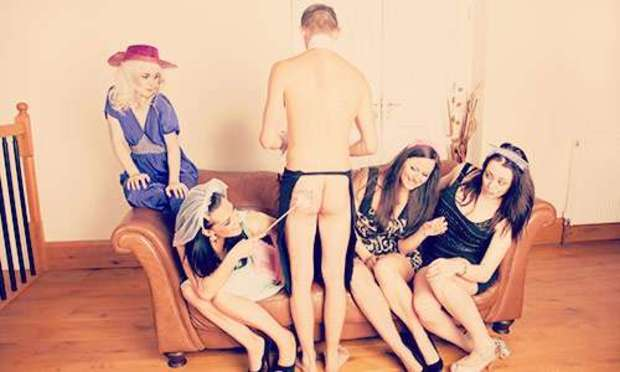 Half naked man standing with his shirt open. Discover the Don't Tell the Mr range of hen party activities: