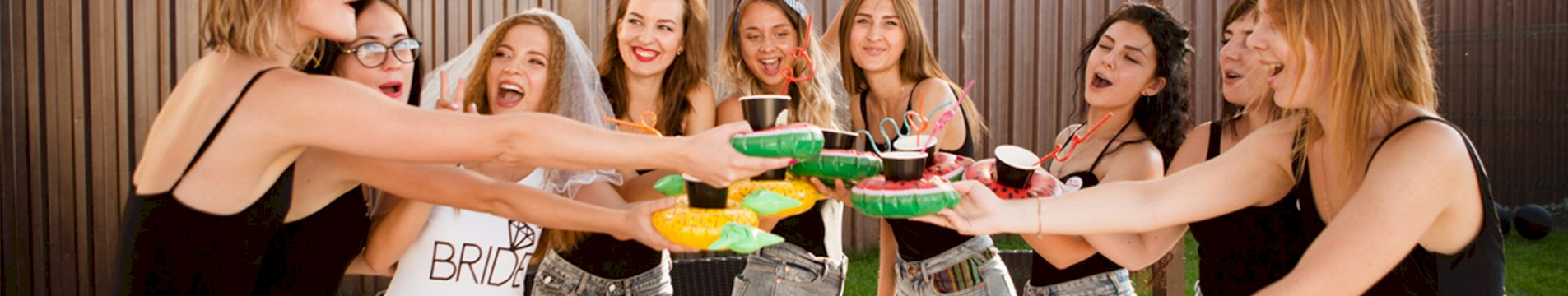 Group of girls on a hen weekend having drinks