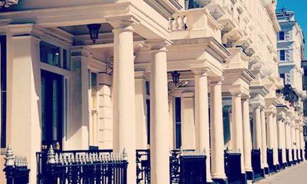 Sun shining on the white columns of Neville Street structures. Discover Chelsea Hen Party ideas below: