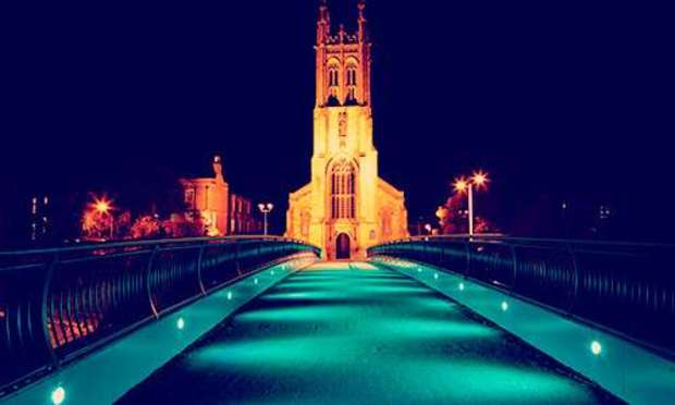 Nighttime view of the Derby Cathedral Quarter. Explore Derby Hen Party ideas below: